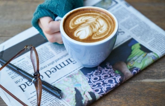 coffee with a newspaper