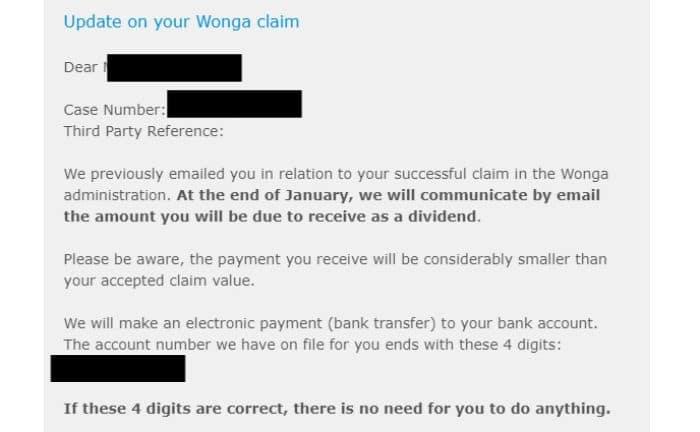 january 2020 update on wonga refund claim