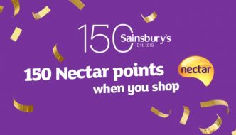Sainsbury's is giving away 150 Nectar points on each £1 spend to celebrate it's 150th birthday this Bank Holiday weekend.