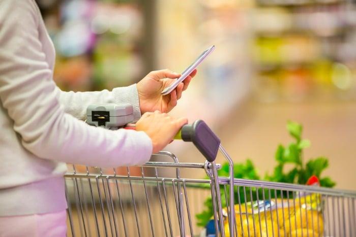 using phone in supermarket