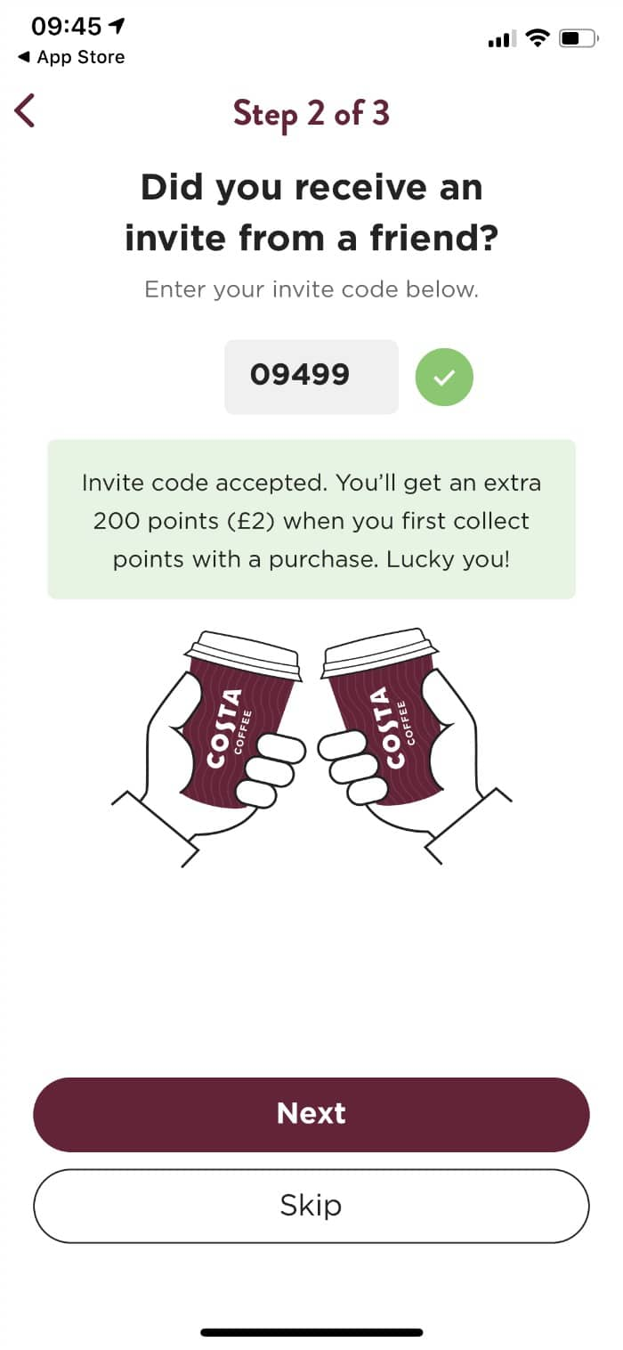 costa coffee free reward points