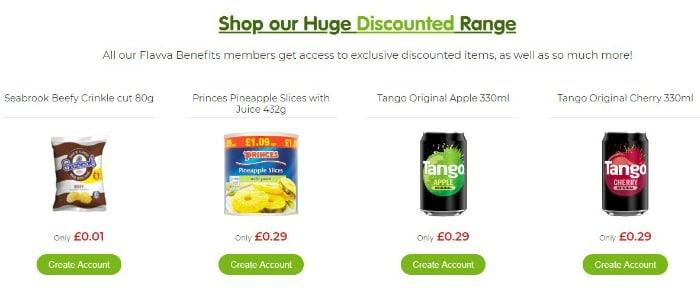 discounted range of food
