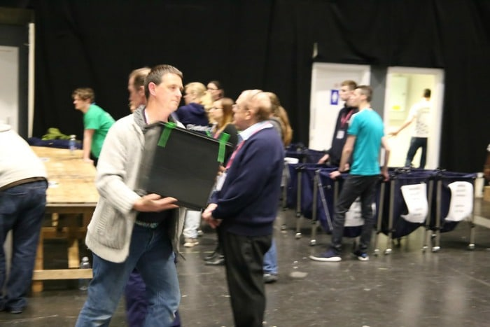 Ballot boxes arrive at Coventry count
