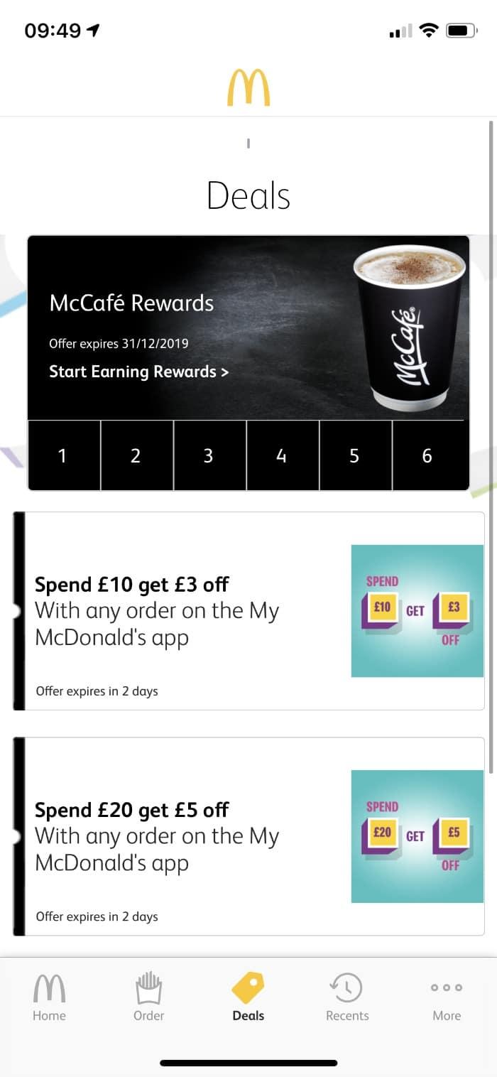 Deals in My McDonalds app