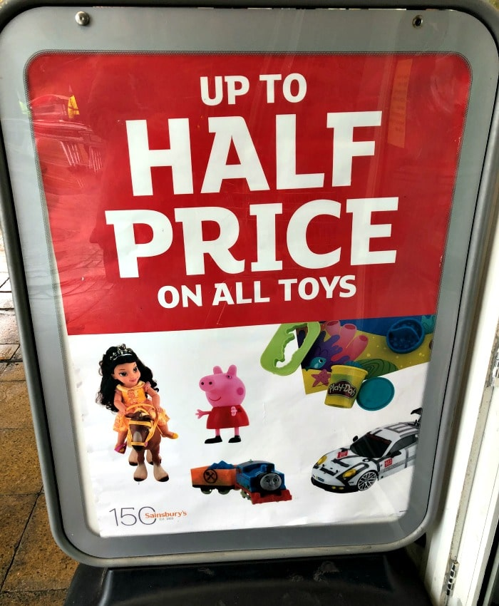 Sainsburys half price toy sale