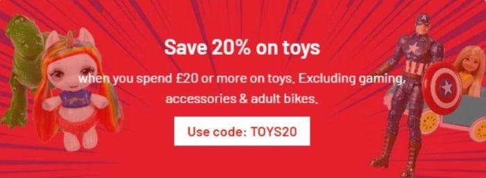 20 per cent off toys at argos