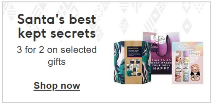 boots 3 for 2 on gifts