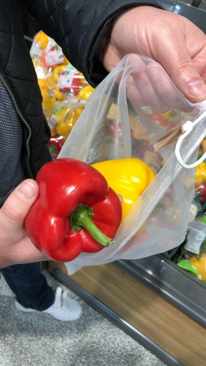 drawstring reusable fruit and veg bag