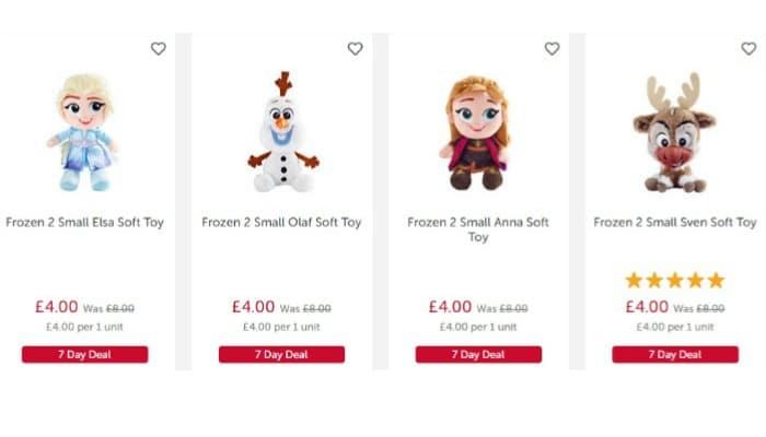 half price frozen 2 soft toys