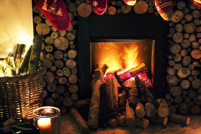 heat from the fire at Christmas