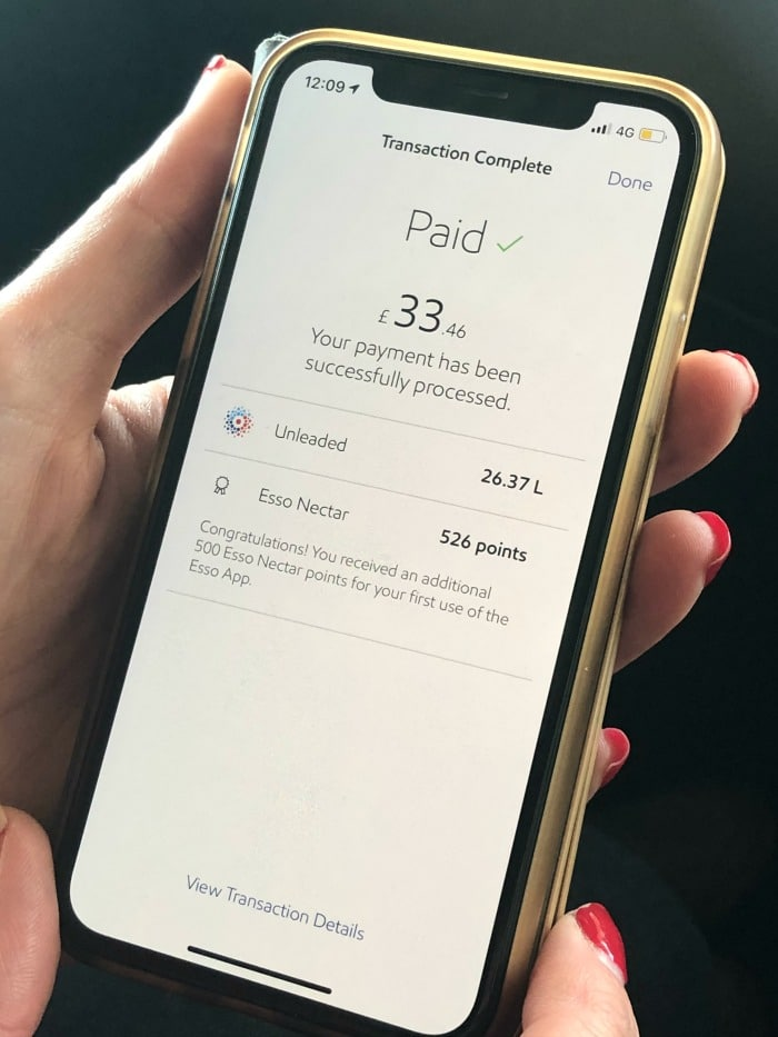 paying for fuel with Esso App