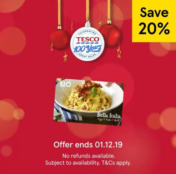tesco gift card offers bella italia