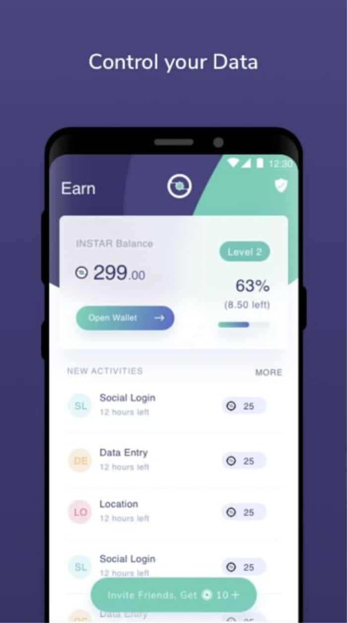instar on android showing earnings