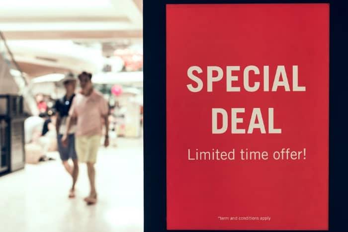 supermarket special deal sign