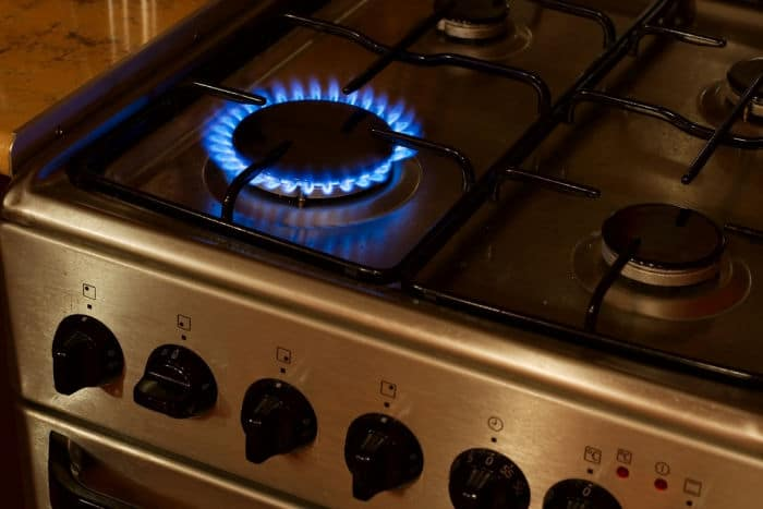Burning flame of a gas stove