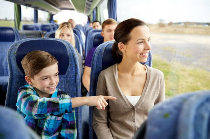 family travelling by coach