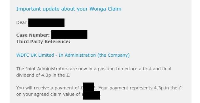 wonga claim amount example
