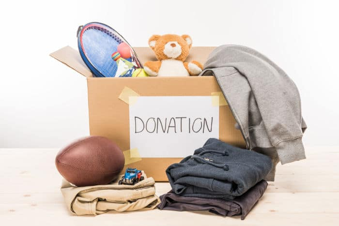cardboard box with donations