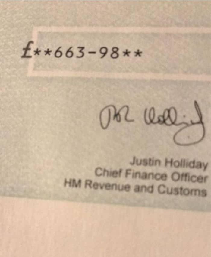 marriage tax allowance cheque