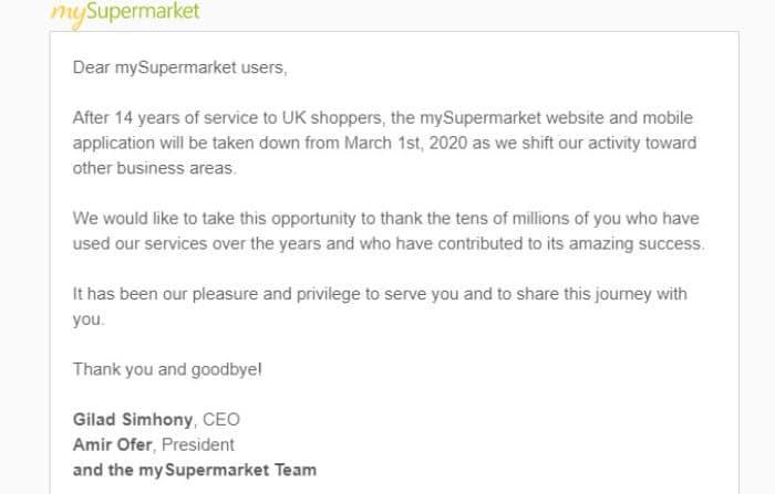mysupermarket closing
