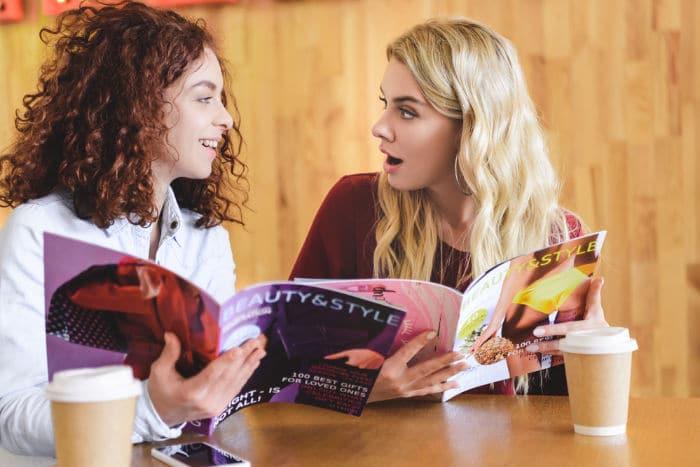 women reading magazines