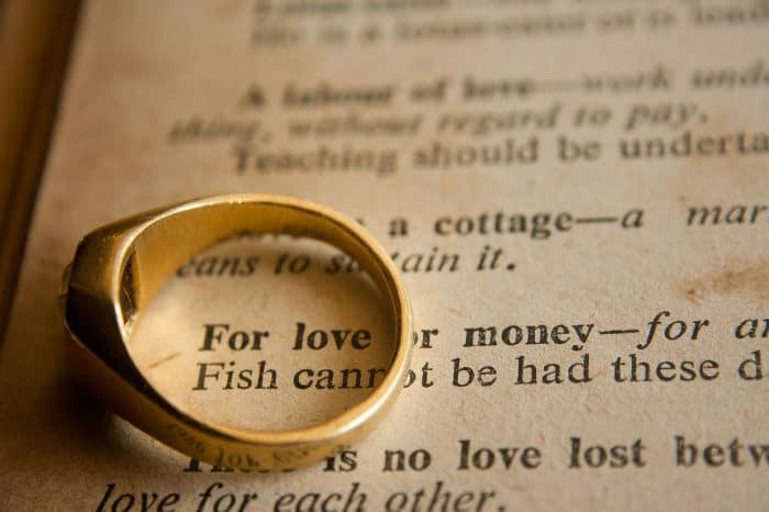 wedding ring on book