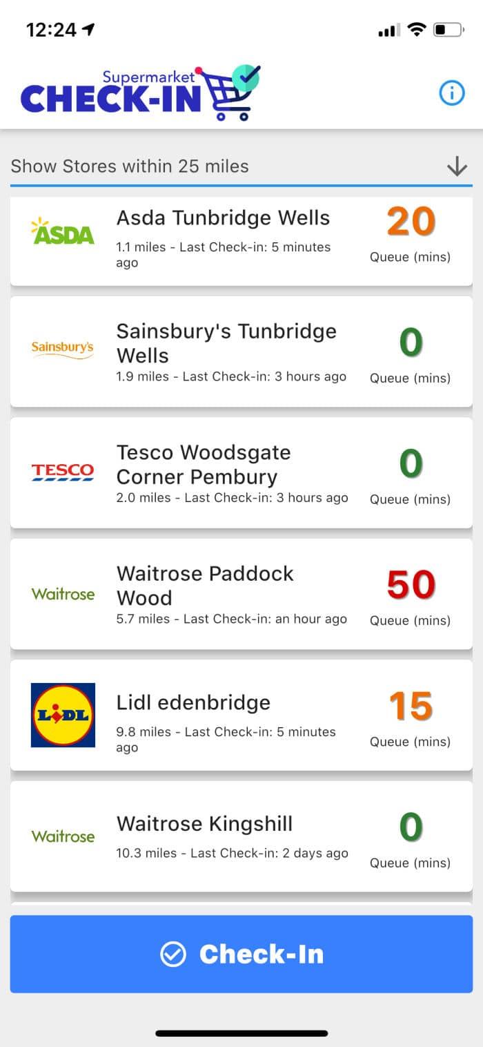 supermarket queue times app