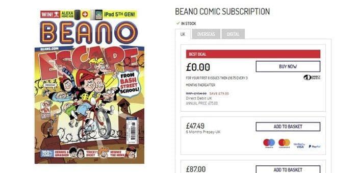 free issues of the beano