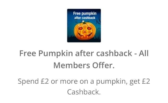 free pumpkin after cashback