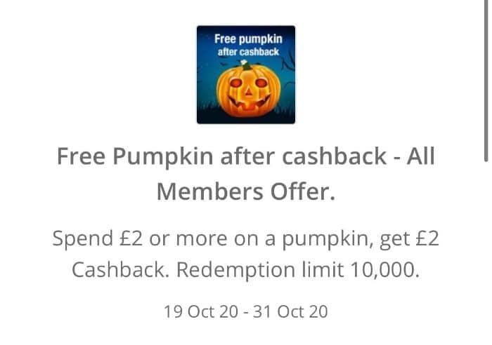 free pumpkin topcashback 2020