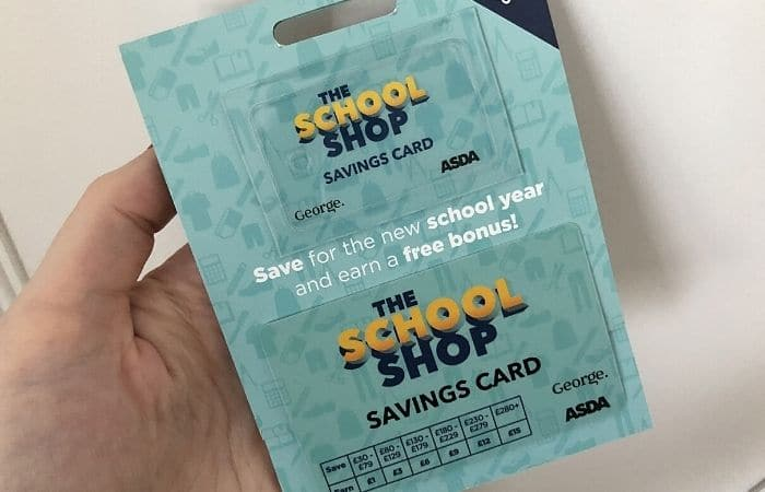 asda school shop savings card