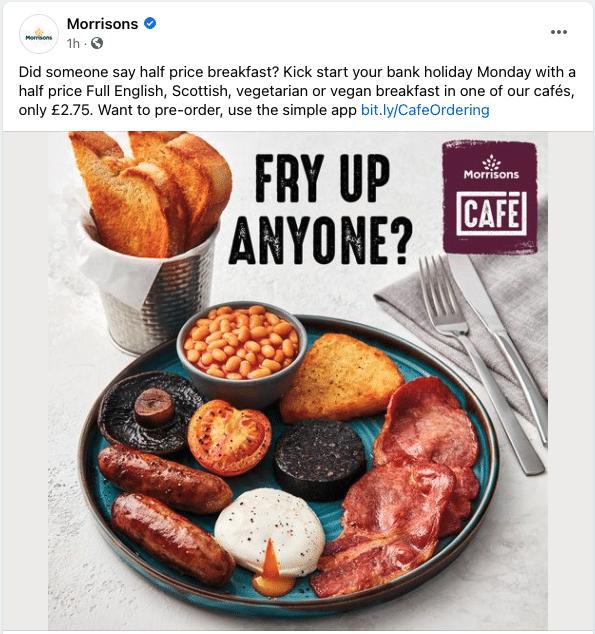 Morrisons half price breakfast