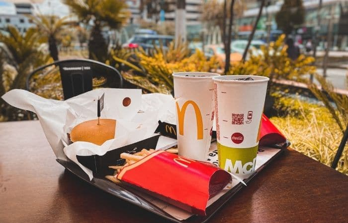 mcdonalds food on a tray outside