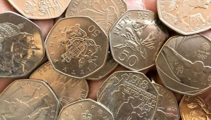 selection of 50p coins
