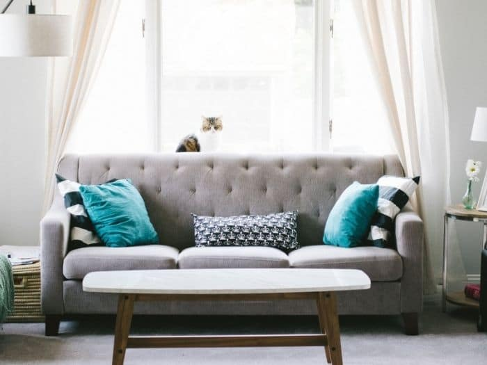 grey sofa in front of a window