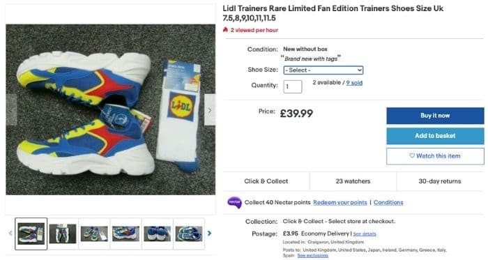 ebay listing of Lidl trainers