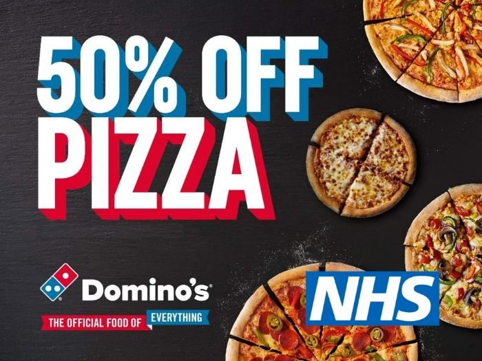 50% of pizza at Dominos for NHS staff