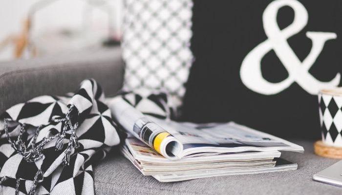 magazines on a sofa