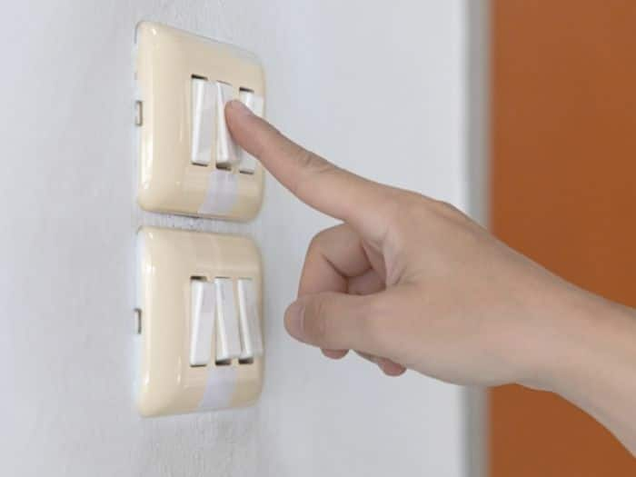 turning on a light switch